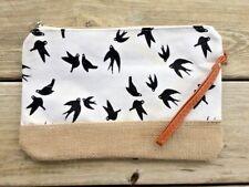 Swallows Birds Black White Canvas Burlap Clutch Handbag Wrist Strap Cosmetic Bag