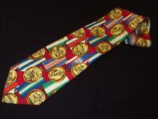Hugo Boss Tie Gold Medal Printed Sports Hockey Novelty Italian Silk Vintage Mens