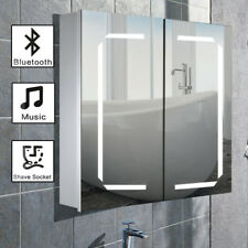 Wall Hung Illuminated LED Bluetooth Bathroom Mirror Cabinet Shelf Socket Speaker