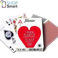 FOURNIER 2500 100% PLASTIC CASINO POKER PLAYING CARDS DECK STANDARD INDEX RED