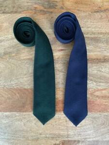"LOT OF TWO (2) blue green KELLY for LORD & TAYLOR TWEED NECK TIES 3.25"" 8,25cm"