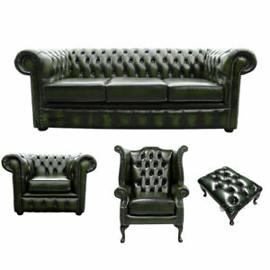 New Chesterfield Sofa 3 2 Seater Genuine Leather Settee Couch Antique Green