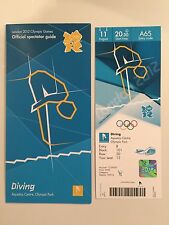 LONDON 2012 OLYMPIC TICKET DIVING TOM DALEY BRONZE 11 AUG & SPECTATOR GUIDE MINT