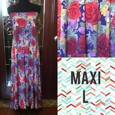 LuLaRoe Maxi Skirt Large Pixal Roses Red Green Blue Purple Yellow Beautiful! NWT