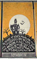 """Come Sit a Spell Happy Haunting Graveyard Halloween Fabric 23"""" Lg Panel #84392"""