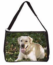 Yellow Labrador Dog Large Black Laptop Shoulder Bag School/College, AD-L48SB