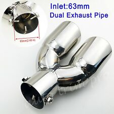 "Universal 2.5"" inch 63mm Inlet Tail Pipe Tip Exhaust Rear Muffler Silencer Trim"
