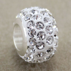 1x Silver Full Crystal Bead Spacer Charm Spacer Fit Eupropean Chain Bracelet