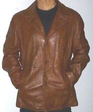 The Gay Blade Mens Leather Jacket Blazer 48 Cognac Hipster Retro Mod Classic 70s