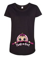 Baby Girl Peek A Boo Cute Pregnant Babies Expecting Mom Maternity DT T-Shirt Tee