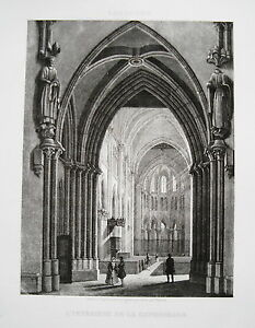 Lausanne Cathedral Inside Rhine Switzerland Real Old Steel Engraving 1846