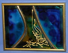 Handcrafted Abstract Painted Glass Brass Collage Small Wall Hanging Plaque