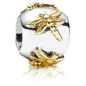 Authentic Pandora Sterling Silver/14k Gold Dragonflies charm/ Retired #790898