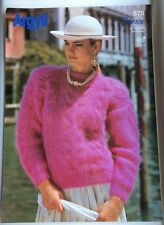 Vintage Argyll  Knitting Pattern No 975 Lady's Lace Panel Sweater Mohair