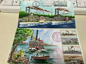 1989 FIRST DAY OF ISSUE COVER HAND PAINT BY HAM STEAM BOAT 2PC SET