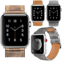 PASBUY 75B Genuine Leather Strap Metal Buckle Band for Apple Watch Series 4 3 2
