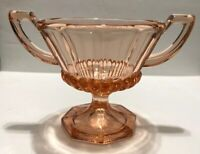 "3.5"" H Pink Depression Glass Pedestal Sugar Bowl Petal Design w/ Trophy Handles"