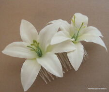 "Double 3 1/2"" Cream Lily Silk Flowers Hair Comb, Bridal,Luau,Dance,Wedding,Prom"