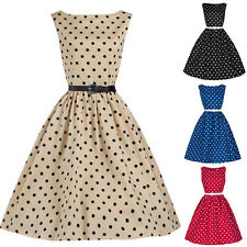 Women Vintage 50s 60s Rockabilly Dress Polka Dot Retro Style Swing Prom Dress AU