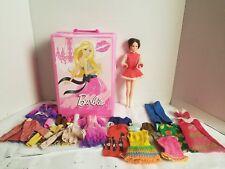 1966 Barbie by Mattel Short Brown Hair. Vintage clothes & Pink Carry Case