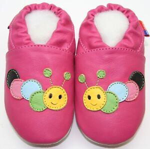 soft sole leather baby shoes minishoezoo caterpillar fuchsia  5-6 years