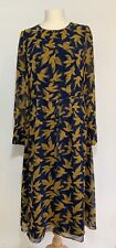 BODEN Print Chiffon Long Sleeve Midi Dress, UK 12