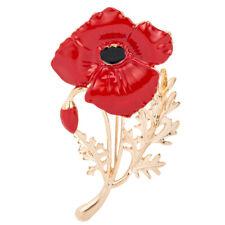 Enamel Brooch Red Poppy Flower Brooch Pin Women Mother's Day Love Family