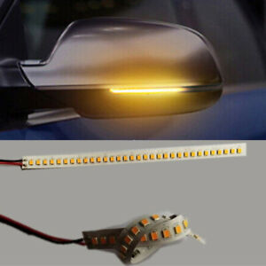 2x 32LED Car Strip Light Flowing Turn Signal Rearview Mirror Side Lamp Amber