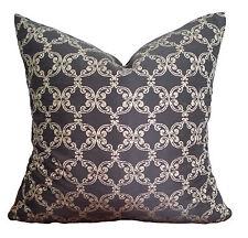 Onyx Black Gold Quatrefoil Vintage Designer Decorative Pillow Cushion Cover