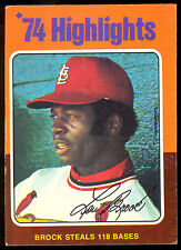 1975 Topps Baseball #2 Lou Brock Ex-Nm 1974 Highlights Hof St. Louis Cardinals