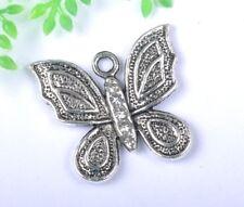 free ship 10pcs Tibetan Silver crystal butterfly Charms SH887