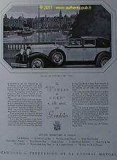 PUBLICITE DE 1929 CADILLAC VENISE du NORD GONDOLE PONT NORRBRO STOCKHOLM AD