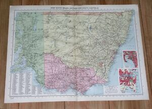 1940 ORIGINAL WWII MAP OF NEW SOUTH WALES VICTORIA MELBOURNE SYDNEY AUSTRALIA