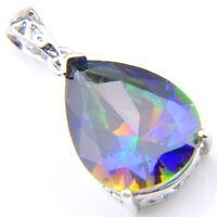 Newest Holiday Gift Rainbow Mystic Topaz Gemstone Silver Drop Necklace Pendants