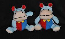 Lot 2 peluche doudou hippopotame BEST PRICE LONDON LIDL bleu rouge grelot TTBE