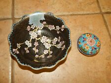 VTG CHINESE  CLOISONNE BOWL AND TRINKET / JEWELRY BOX