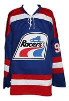 Custom Name # Indianapolis Racers Retro Hockey Jersey Gretzky Blue Any Size