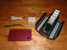 TESTED Burgundy Red Nintendo DSi XL handheld with 5 Games Pokemon Pearl Zelda DS
