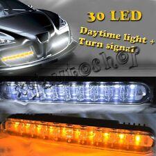 Car 20 LED DRL Driving Daylight + Amber Turn Signal Daytime Running Light Lamp