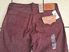 Nwt Levi's White Oak Cone Denim Shrink to Fit Jeans Red Burgundy Size 36 x 32
