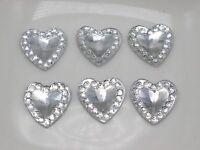 200 Clear Acrylic Flatback Heart Rhinestone Gems 10X10mm Embellishments