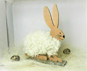 Easter Decor Bunny Wood Wool Decoration White Braun Natural 20 CM
