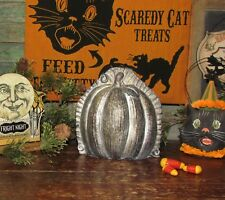 Primitive Antique Vtg Tin Style Sm Halloween Pumpkin Resin Chocolate Candy Mold