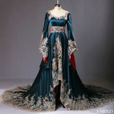 2017 Medieval Dark Blue Bridal Gowns Appliques Beaded Wedding Dresses Size 2-26W