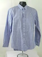 Nordstrom Trim Fit Mens Blue  Plaid Check Dress Button Shirt Size 16.5