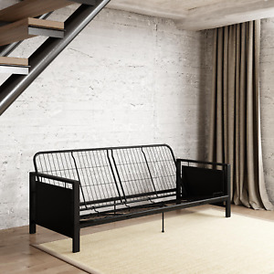 Futon Frame Full Size Sofa Bed Couch Metal Black Sleeper Living Room Furniture