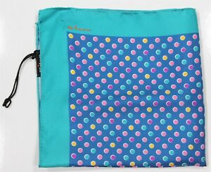 New! Kiton Current Aqua Polka Dot Silk Handrolled Pocketsquare