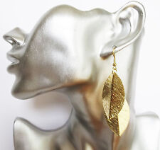 Gorgeous Brushed Gold Tone Leaf Design Dangle Drop Earrings 8 cms Lightweight!