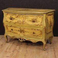 Comò cassettone veneziano in legno laccato dorato 2 cassetti mobile stile antico