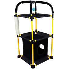 Pet Ting 3 Layer Black and Yellow Cat Tower 3 Level Plastic With Scratching Post